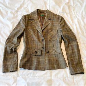 Benetton Made in Italy Classic Plaid Peplum Jacket